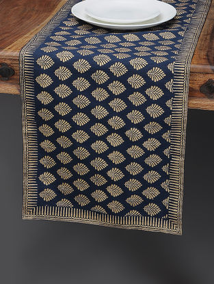 Navy Blue-Beige Khari-printed Silk Table Runner with Boota Jaal