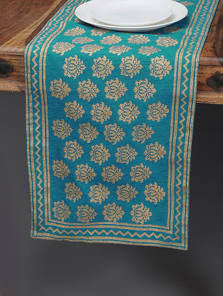 Blue-Beige Khari-printed Silk Table Runner with Boota Jaal