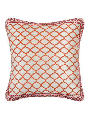 Orange-White Khari-printed Silk Cushion Cover -16in x 16in