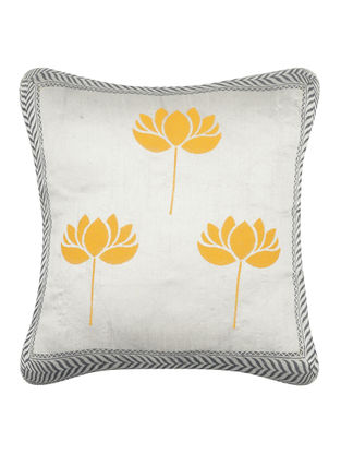 Yellow-Grey Khari-printed Silk Cushion Cover -16in x 16in