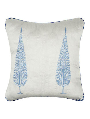Blue-White Khari-printed Silk Cushion Cover -16in x 16in