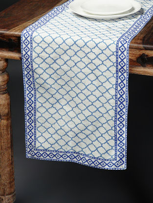 Blue-White Khari-printed Silk Table Runner -58in x 15in