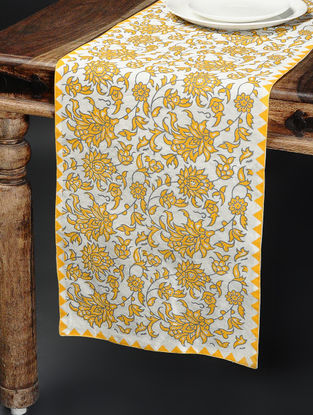 Yellow-Grey Khari-printed Silk Table Runner -58in x 15in