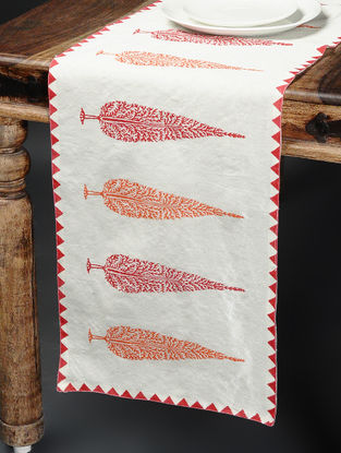 Orange-White Khari-printed Silk Table Runner -58in x 15in