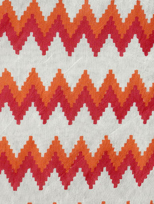 Orange-Maroon Khari-printed Silk Table Runner -58in x 15in
