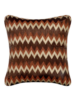 Brown-Beige Khari-printed Silk Cushion Cover -16in x 16in