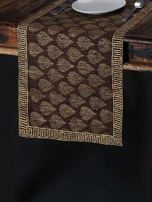 Brown-Golden Khari-Printed Silk Table Runner (59in x 14.5in)