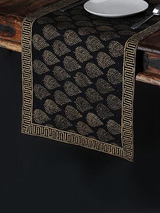 Black-Golden Khari-Printed Silk Table Runner (58in x 14.5in)