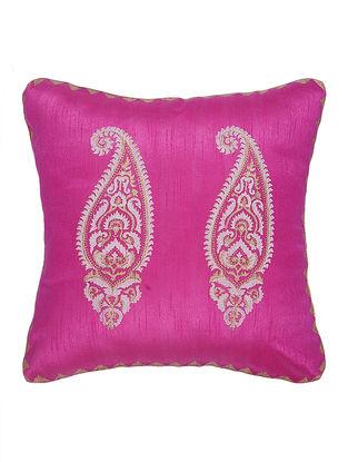 Pink-Golden Khari-Printed Silk Cushion cover (15.5in x 15.5in)