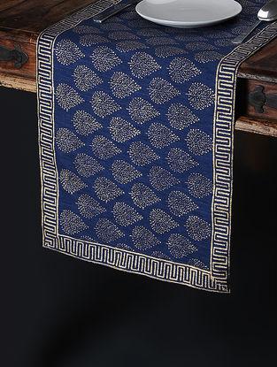 Blue-Golden Khari-Printed Silk Table Runner (59in x 14.5in)