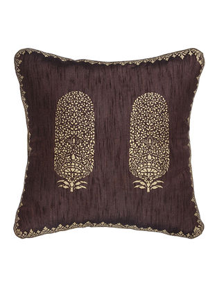 Brown-Golden Khari-Printed Silk Cushion cover (15.5in x 15.5in)