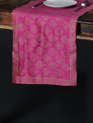 Pink-Golden Khari-Printed Silk Table Runner (58in x 14.5in)