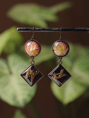 Pink Enameled Sundried Bachelor Button in Brass Alloy Earrings