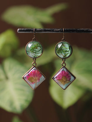 Green Enameled Sundried Pine Leaf and Bachelor Button Brass Alloy Earrings