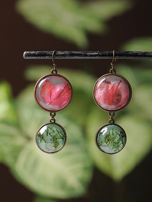 Blue Enameled Sundried Bougainvillea and Pine Leaf Brass Alloy Earrings