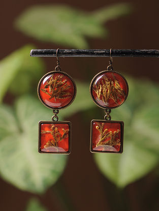 Red Enameled Sundried Pine Leaf Brass Alloy Earrings