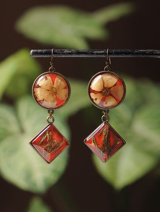 Red Enameled Sundried Pine Leaf and Bombay Jasmin Brass Alloy Earrings