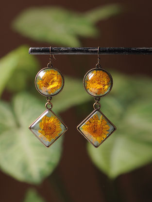 Yellow Enameled Sundried Daisy Brass Alloy Earrings
