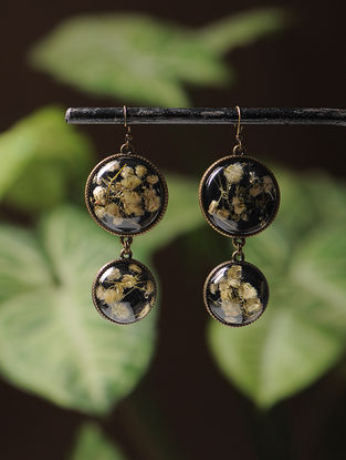 Black Enameled Sundried Dandelion Brass Alloy Earrings