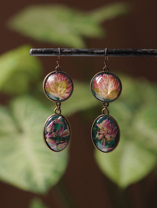 Pink Enameled Sundried Bachelor Button Brass Alloy Earrings