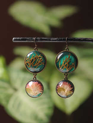 Green Enameled Sundried Bachelor Button and Pine Leaf Brass Alloy Earrings