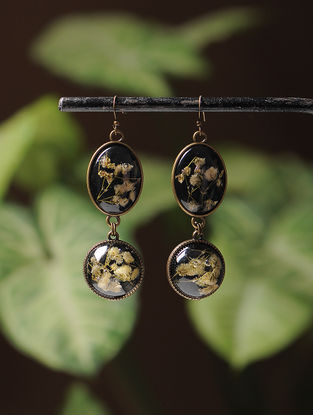 White Enameled Sundried Dandelion Brass Alloy Earrings