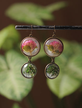 White Enameled Sundried Bachelor Button Brass Alloy Earrings