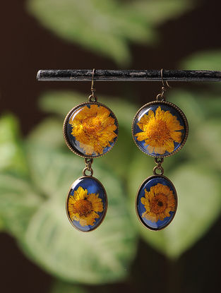 Blue Enameled Sundried Daisy Brass Alloy Earrings