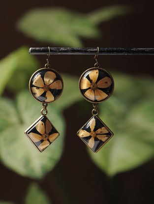 Black Enameled Sundried Bombay Jasmin Brass Alloy Earrings