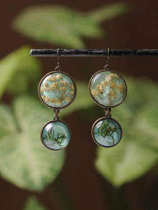 Green Enameled Sundried Dandelions and Pine Leaf Brass Alloy Earrings