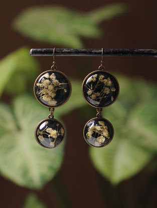 Black Enameled Sundried Dandelions Brass Alloy Earrings