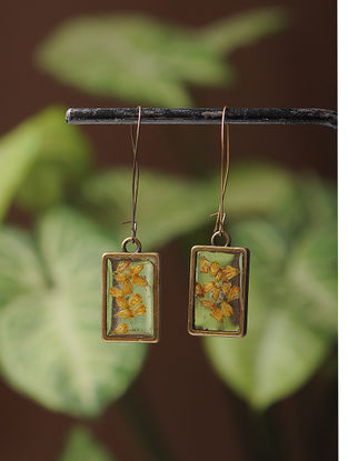 Yellow Sundried Babys Breath Brass Alloy Earrings