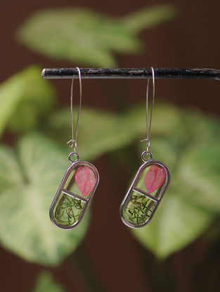 Pink Sundried Bougainvillea Brass and Pine Leaf Alloy Earrings