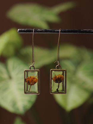 Yellow Sundried Daisy Brass Alloy Earrings