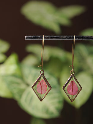 Pink Sundried Bougainvillea Brass Alloy Earrings