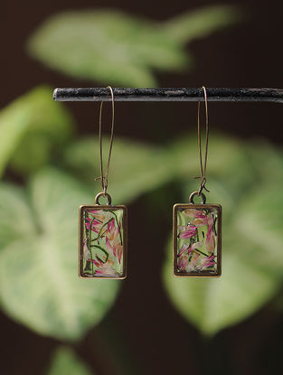 Pink Sundried Bachelor Button Brass Alloy Earrings