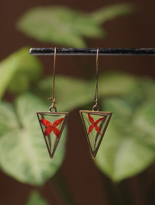 Red Sundried Ixora Brass Earrings
