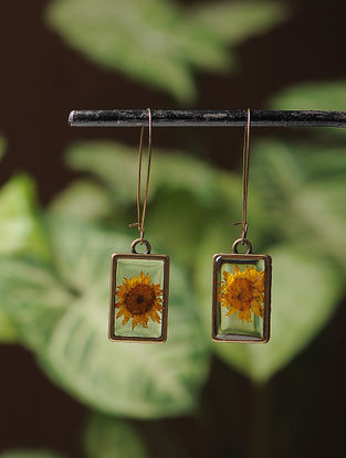 Yellow Sundried Daisy Brass Earrings