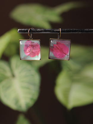 Blue Enameled Sundried Bougainvillea Brass Alloy Earrings