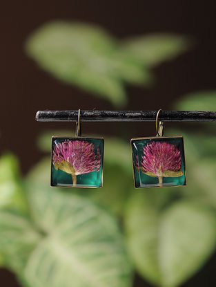 Green Enameled Sundried Bachelor Button Brass Alloy Earrings