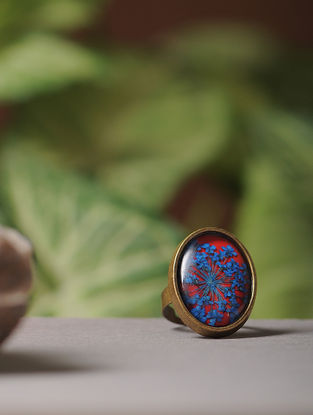 Red Enameled Sundried Babys Breath Brass Alloy Adjustable Ring
