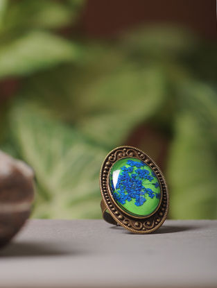 Green Enameled Babys Breath Brass Alloy Adjustable Ring