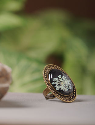Purple Enameled Sundried Babys Breath Brass Alloy Adjustable Ring