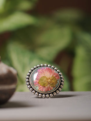 Blue Enameled Sundried Bachelor Button Brass Alloy Adjustable Ring