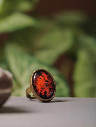 Black Enameled Sundried Babys Breath Brass Alloy Adjustable Ring