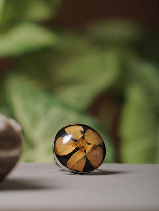 Black Enameled Sundried Bombay Jasmin Brass Alloy Adjustable Ring