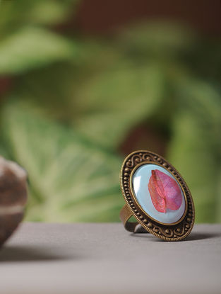 Blue Enameled Sundried Bougainvillea Brass Alloy Adjustable Ring