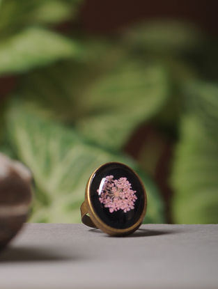 Purple Enameled Sundried Babys Breath Brass Adjustable Ring