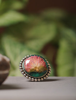 Green Enameled Sundried Bachelor Button Brass Alloy Adjustable Ring