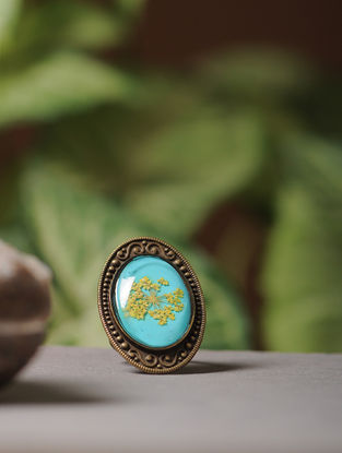 Blue Enameled Sundried Babys Breath Brass Adjustable Ring